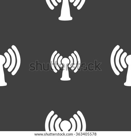 Wi-fi, internet icon sign. Seamless pattern on a gray background. illustration - stock photo