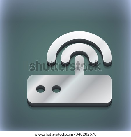 Wi fi router icon symbol. 3D style. Trendy, modern design with space for your text illustration. Raster version - stock photo