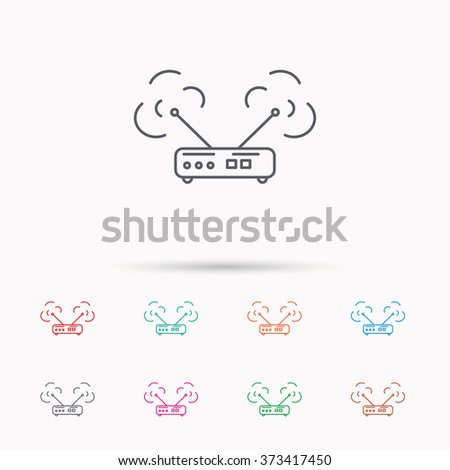 Wi-fi router icon. Wifi wireless internet sign. Device with antenna symbol. Linear icons on white background. - stock photo