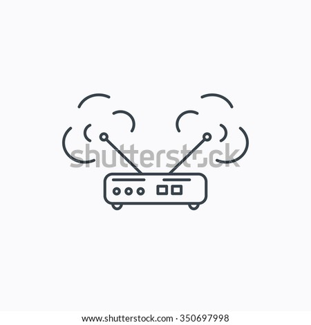 Wi-fi router icon. Wifi wireless internet sign. Device with antenna symbol. Linear outline icon on white background. - stock photo