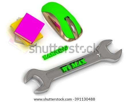 Wi MAX bright volume letter on silver instrument, textbooks and computer mouse on white background - stock photo