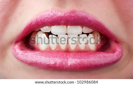 wicked ping woman mouth background