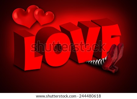 Wicked Witch falling on Love - stock photo