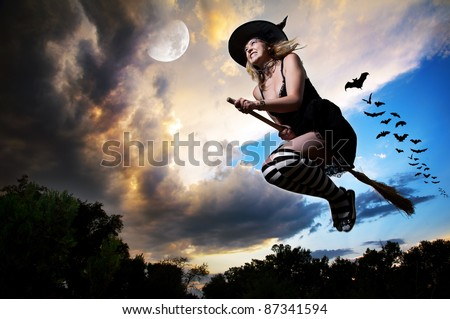 Wicked witch flying on broomstick with bats behind her and moon nearby in the evening dramatic sky background. Free space for text - stock photo