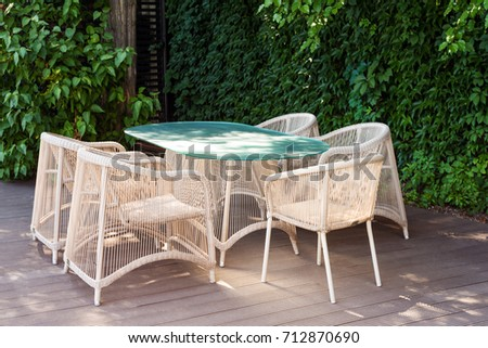 Wicker Armchairs And Table, Modern Garden Furniture. Cozy Space For Relax  In The Garden
