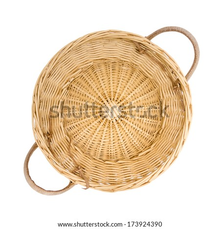Wicker basket isolated on white, top view - stock photo
