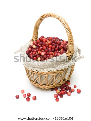 wicker basket of ripe cranberries isolated on a white background. vertical photo. - stock photo