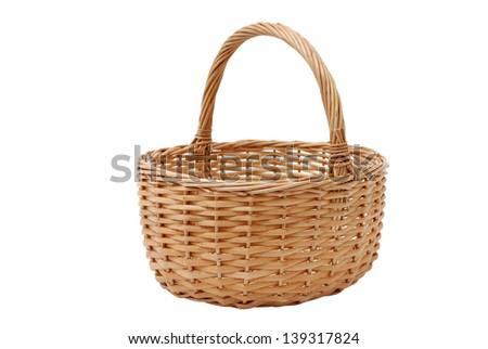 Wicker basket on the white background - stock photo