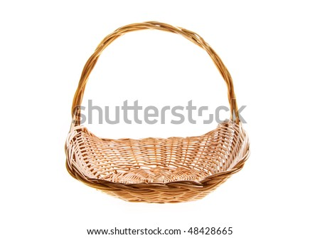 wicker basket on the white background