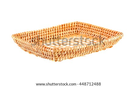 wicker basket on white background - stock photo