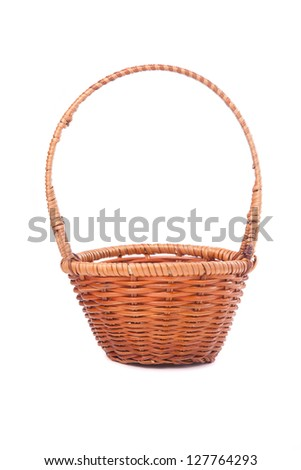 wicker brown  basket isolated on white background