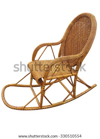 Wicker brown rocking chair isolated on white background - stock photo