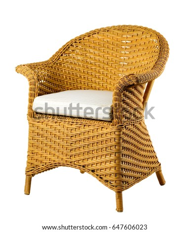 wicker chair isolated on white background clipping path