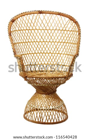 Wicker Chair on White Background - stock photo
