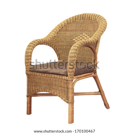 Wicker comfortable chair isolated on white background.
