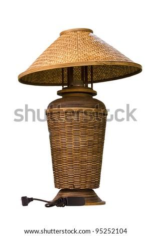 wicker electric lamp - stock photo