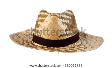 Wicker hat made from palm leaf with brown fabric strap isolated on white
