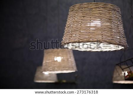 wicker lamps - stock photo
