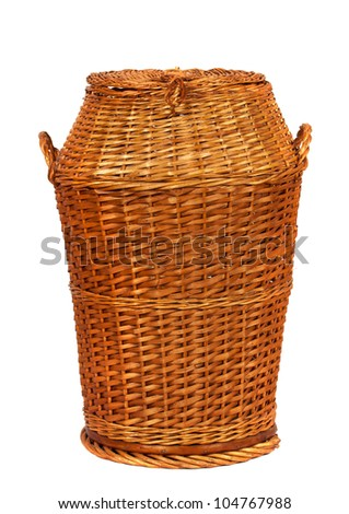 Wicker laundry basket or Hamper  over white background