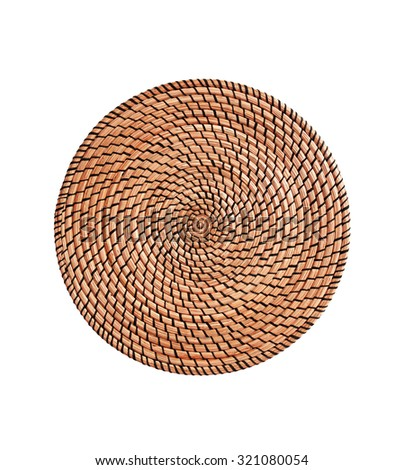 Wicker placemat surface top view texture Isolated on white background - stock photo