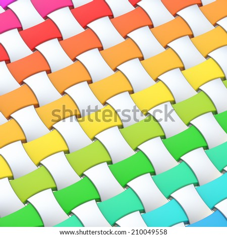 Wicker surface as an abstract background composition made of glossy rainbow colored elements - stock photo