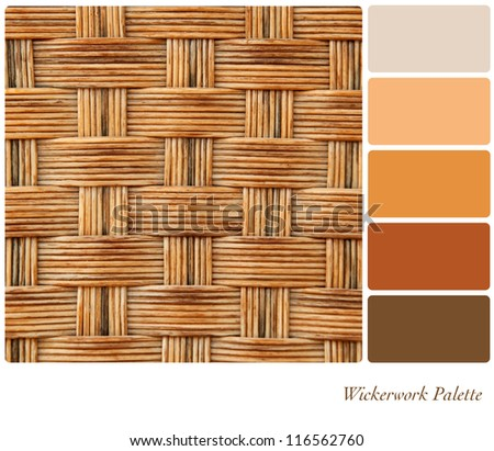 Wickerwork colour palette background with complimentary colour swatches. - stock photo
