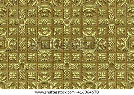 Wide abstract golden repeating background