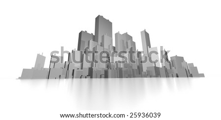 wide abstract skyline 3d - stock photo