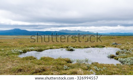 Wide and flat tundra area in the highlands. Pond of water in front. Mountain ridge in the background. Cloudy sky. Sweden.