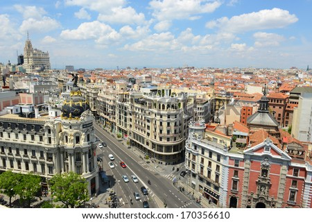 Wide angle aerial view of Madrid City at the Calle de Alcala and Gran Via, Madrid, Spain.  Metropolis Building (Edificio Metropolis) and Telefonica Building are at both sides of Gran Via. - stock photo
