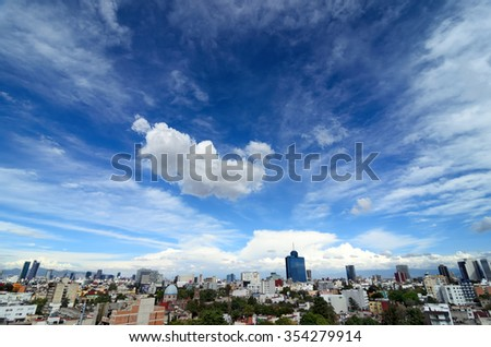 Wide-angle aerial view to cityline of Mexico-city - stock photo