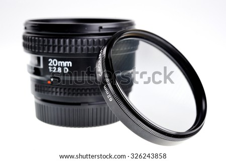 Wide angle fixed range 20mm lens with circular filter isolated on white. - stock photo