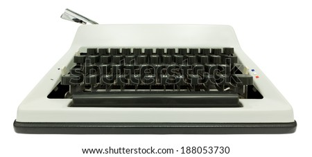 Wide angle front view of typewriter on white background with clipping path - stock photo
