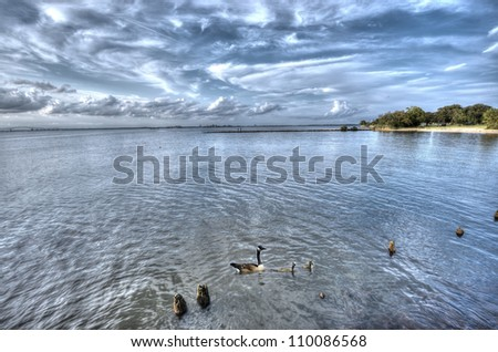 Wide angle HDR Landscape of the Chesapeake Bay in Maryland during summer - stock photo