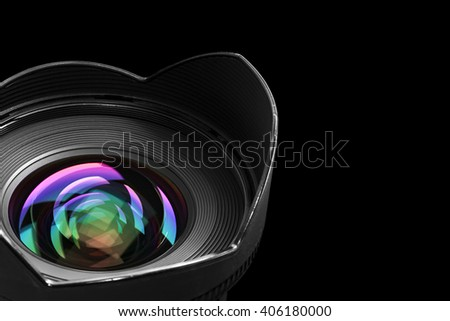 wide angle objective with lens reflections - stock photo