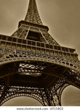 Wide angle of Eiffel tower in Paris. HDR-processed image with excellent resolution of tone nuances. - stock photo