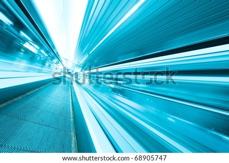 wide angle of high-speed moving escalator