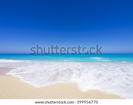 wide angle of wild beach with rocks in water. Island Lefkada, Leucas or Leucadia, Levkas, Lefkas, ionian sea, Greece - stock photo
