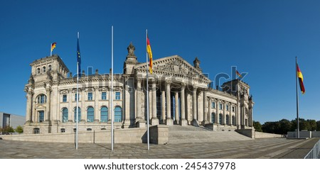 wide angle panoramic view of the German parliament (Reichstag) building in Germanys capital Berlin, Europe, - stock photo
