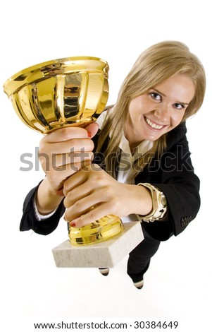 wide angle picture of an attractive businesswoman winning - stock photo