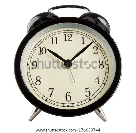 Wide angle shot of a traditional alarm clock isolated on white - stock photo