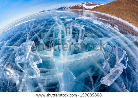 Wide-angle shot of Icehange - stonehenge made from ice on lake Baikal in Sineria - stock photo