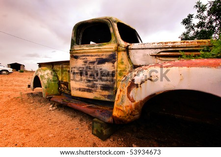 Wide angle shot of old rustic truck - stock photo