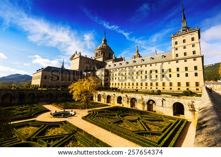 Wide angle shot of Royal Palace  in sunny day.   El Escorial, Spain - stock photo