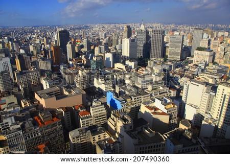 Wide angle shot of Sao Paulo cityscape - stock photo