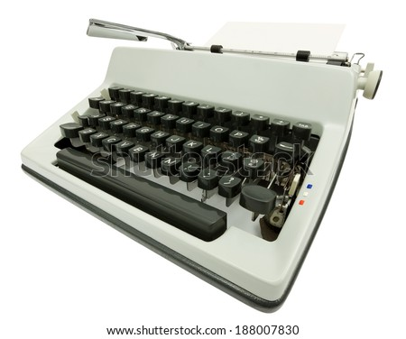 Wide angle side view of typewriter on white background with clipping path