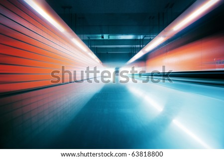 Wide Angle Tunnel Interior - stock photo