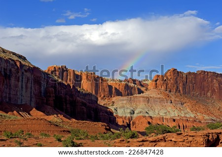 Wide Angle View at Sunset with Rainbow in Capitol Reef National Park at Panorama Point.
