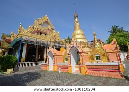 Wide Angle View Of A Popular Burmese Temple In Penang, Malaysia - stock photo