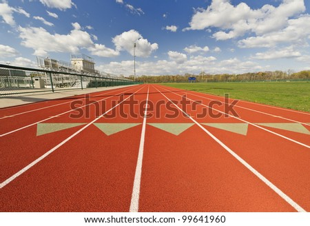Wide Angle View of a Running Track - stock photo